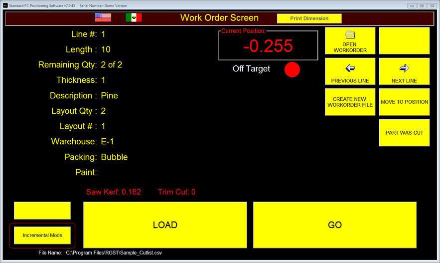 Workorder Incremental Mode Screen