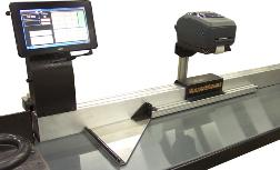 The RazorGage ST programmable saw stop can be outfitted with a label printer for part and placement identification.