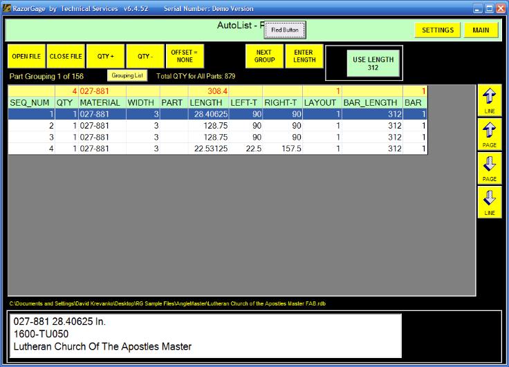 Razorgage Automatic Miter Saw Fence AutoList Screen