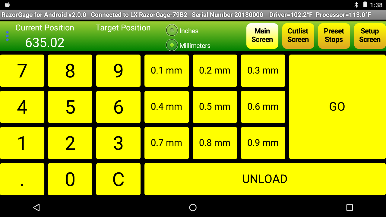 XT-Eco screenshot main screen with metric mode selected
