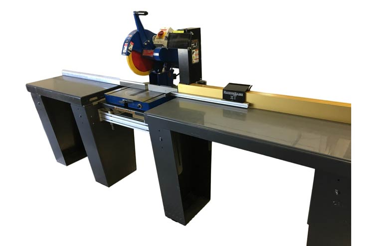 RazorGage Chop Saw Table. Works with RazorGage xT-ECO (shown) or with RazorGage ST.  Requires RazorGage Table options with Extra Leg on both sides of saw. Designed to fit most chop saws.