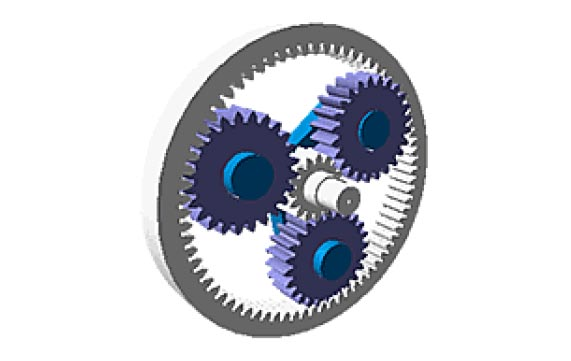 RazorGage positioner planetary gear-head with 3 load paths.