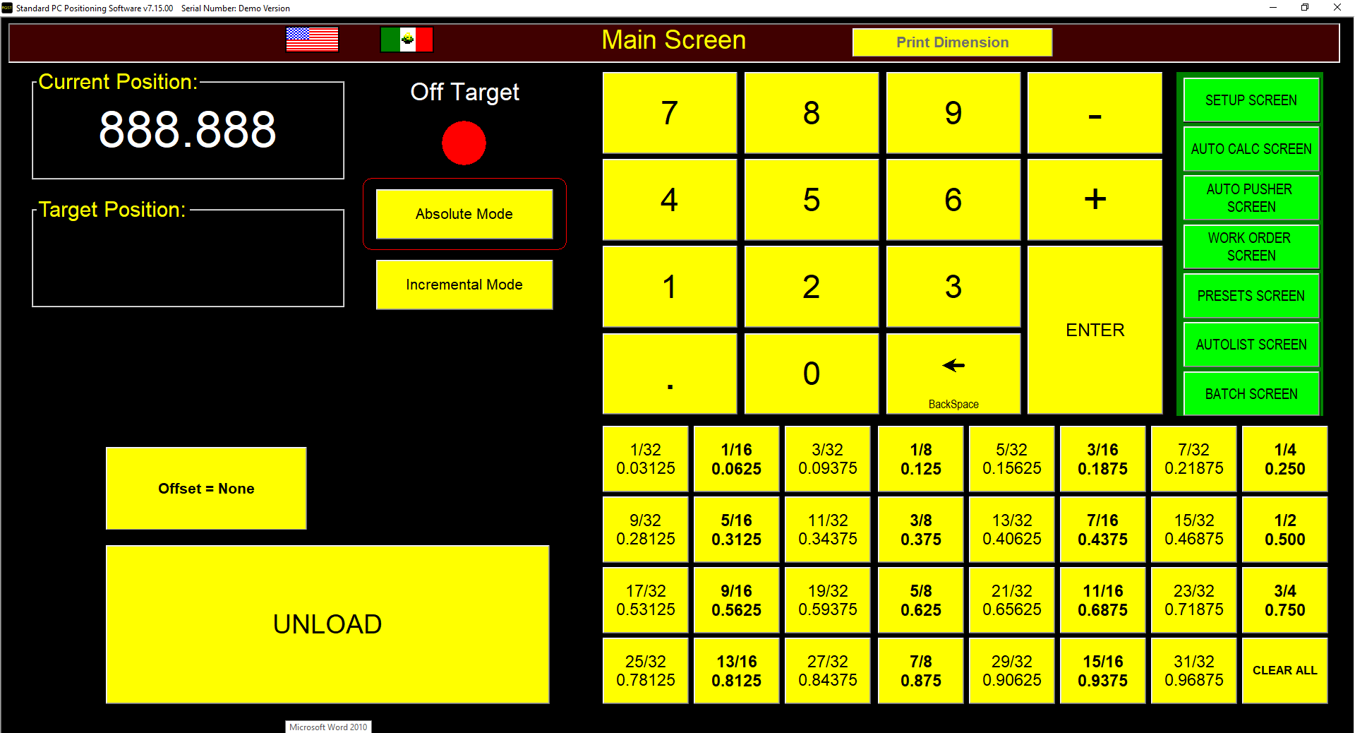 RazorGage ST Software Main Screen