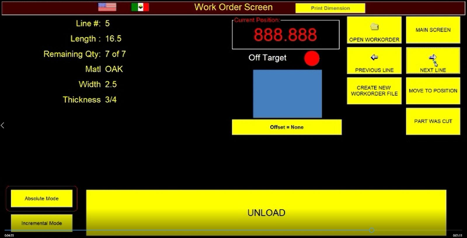 RazorGage work order screen