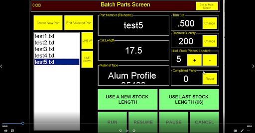 RazorGage batch screen
